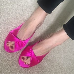 Perfect condition! NWOT! Bright pink satin mules